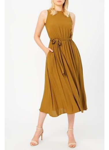 Random Kadın Beli Lastikli Kolsuz Elbise Haki